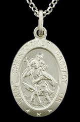 Sterling Silver Small Oval Satin St Christopher Pendant  21mm x 16mm  photo 1