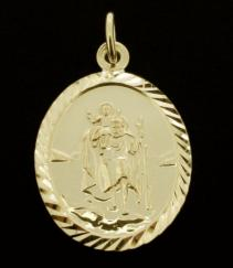 18ct Gold Plated Diamond Cut Oval St Christopher Pendant photo 1