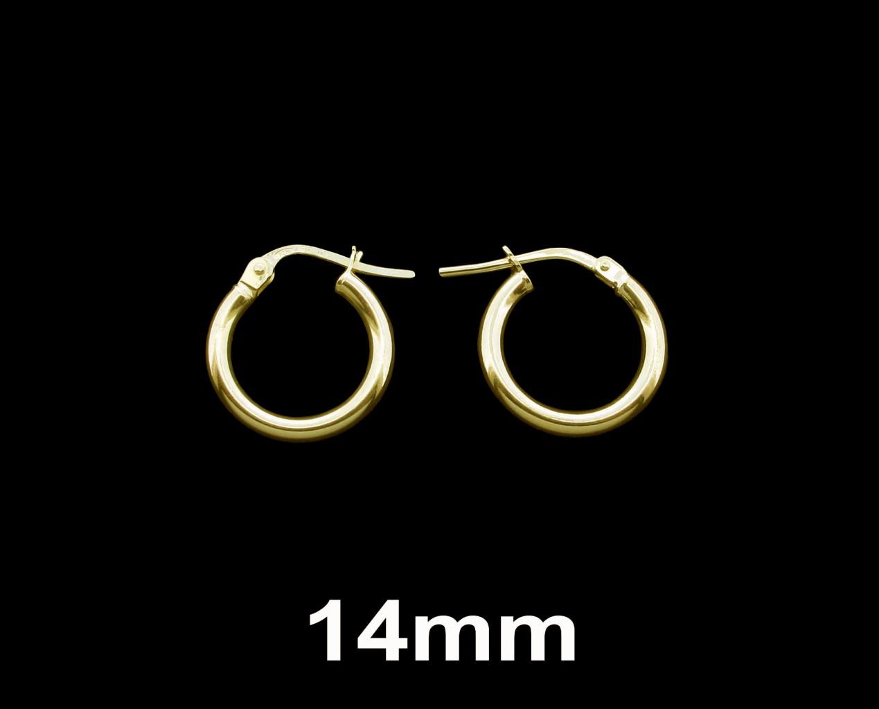 9ct Gold 14mm Hoops Sleeper Earrings WIBGK6