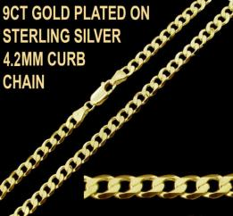 9ct Gold Plated on 925 Sterling Silver 4.2mm Curb Chain