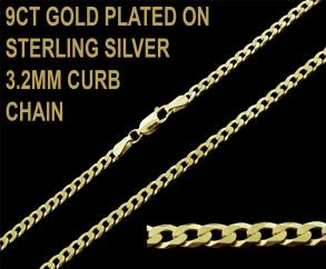 9ct Gold Plated on 925 Sterling Silver 3.2mm Flat Curb Chain