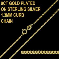 9ct Gold Plated on 925 Sterling Silver 1.3mm Diamond Cut Curb Chain