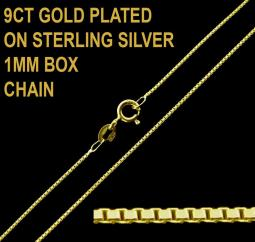9ct Gold Plated on 925 Sterling Silver 1mm Box Chain