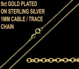 9ct Gold Plated on 925 Sterling Silver 1mm Trace Chain
