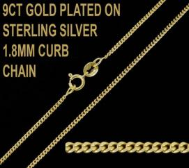 9ct Gold Plated on 925 Sterling Silver 1.8mm Diamond Cut Curb Chain