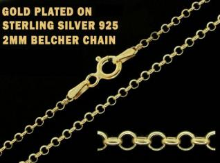 9ct Gold Plated on 925 Sterling Silver 2mm Belcher Chain