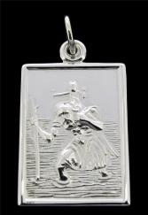 Sterling Silver St Christopher Pendant 24mm x 18mm photo 1