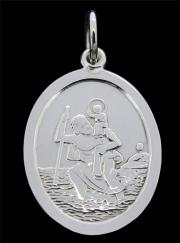 Sterling Silver Small Oval St Christopher Pendant  21mm x 16mm  photo 1