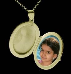 Large 9ct Gold Plated on Sterling Silver Oval Picture Locket photo 1