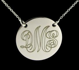 Sterling Silver Monogram Disc Pendant Necklace photo 1