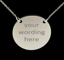 Sterling Silver Monogram Disc Pendant Necklace photo 2