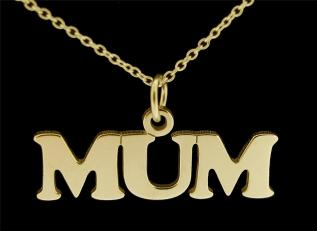 9ct Gold Plated Sterling Silver Mum Pendant photo 1