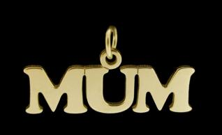 9ct Gold Plated Sterling Silver Mum Pendant photo 2