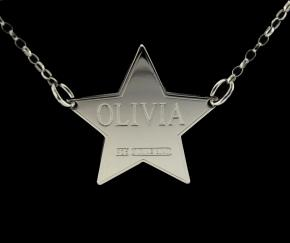 Sterling Silver Star Personalised Name Tag photo 1