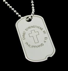 Sterling Silver Personalised Cross US Army Style Dog Tag photo 1
