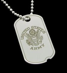 Large Sterling Silver Personalised Crest US Army Style Dog Tag photo 1