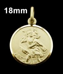 9ct Solid Gold 18mm Round St Christopher Pendant photo 1