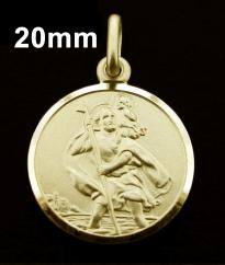 9ct Solid Gold 20mm Round St Christopher Pendant photo 1