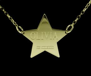 9ct Gold Plated Star Personalised Name Tag photo 1