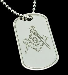 Sterling Silver Personalised Large Masonic Dog Tag photo 1