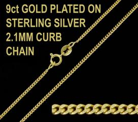 9ct Gold Plated on 925 Sterling Silver 2.1mm Diamond Cut Curb Chain