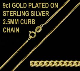 9ct Gold Plated on 925 Sterling Silver 2.5mm Diamond Cut Curb Chain