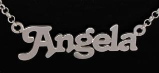 9ct Solid White Gold Terra Style Personalised Name Necklace