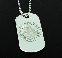 Large 925 Sterling Silver Personalised St Christopher Dog Tag photo 1