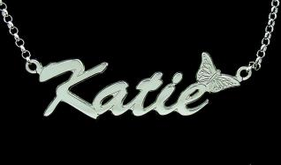 Sterling Silver Script Butterfly Style Personalised Name Necklace & Chain