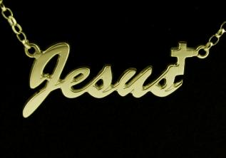 0.925 Sterling Silver then 9ct Gold Plated Cross Style Name Necklace