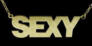 9ct Gold Plated Extra Large Geneva Name Necklace with Engraved Hearts
