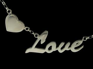 Sterling Silver Script Floating Heart style personalised Name Necklace & Chain