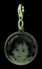 Sterling Silver Photo Engraved Ladies Detachable Charm photo 1