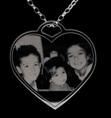 Sterling Silver Photo Engraved Ladies Heart Pendant photo 1