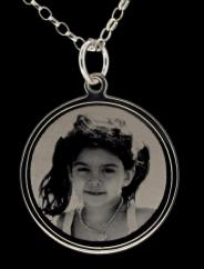 Sterling Silver Photo Engraved Ladies 24mm Disc Pendant photo 1