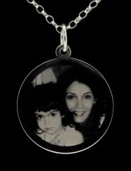 Sterling Silver Photo Engraved Ladies 32mm Disc Pendant photo 1