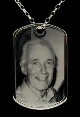 Large Sterling Silver Personalised Photograph Engraved Dog Tag photo 1