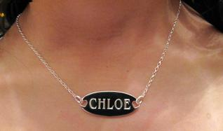 Oval Name Tag Pendant with Engraving on Front & Back photo 3