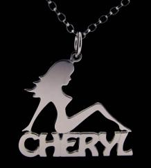 Personalised Mud Flap Girl Style Sterling Silver Name Necklace & Chain