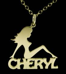 Mud Flap Girl style name necklace