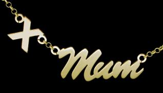 9ct gold plated Script Floating Kiss style personalised Name Necklace
