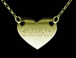 9ct Gold Plated Valentine Heart Personalised Name Tag photo 1