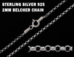 0.925 Sterling Silver Belcher Style Chain