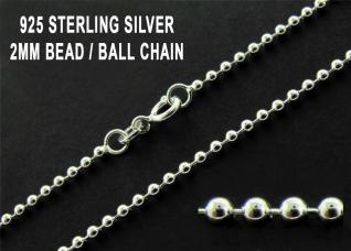 0.925 Sterling Silver 2mm Bead Chain