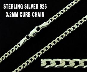 Sterling Silver 3.2mm Diamond Cut Flat Curb Chain