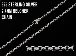 925 Sterling Silver 2.4mm Belcher Chain