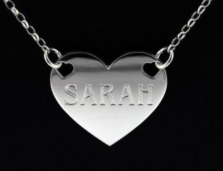 Rhodium Plated Valentine Heart Personalised Name Tag photo 1