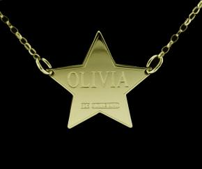 9ct Solid Gold Star Personalised Name Tag photo 1