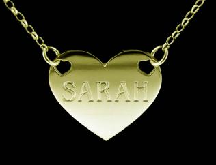 9ct Solid Gold Valentine Heart Personalised Name Tag photo 1