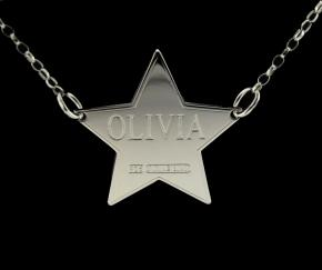 Platinum Plated Star Personalised Name Tag photo 1